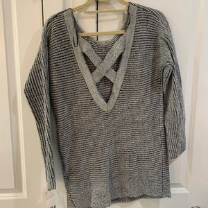 Gray sweater with criss cross back
